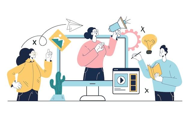 Conceito de elemento de design de ilustração abstrata de gerenciamento de conteúdo