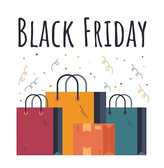 Conceito de elemento de design de venda de bolsas black friday