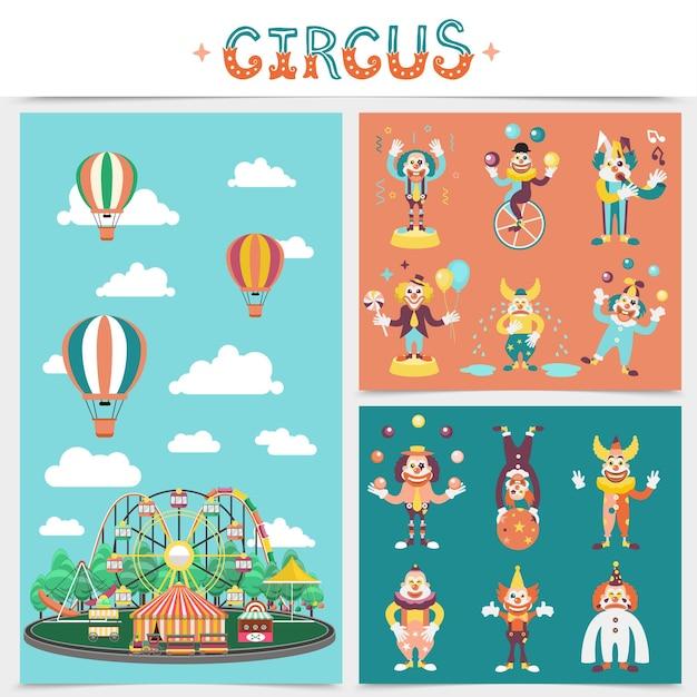 Conceito de elementos de carnaval plano com carrosséis de parque de diversões atrações tenda de circo balões de ar quente palhaços