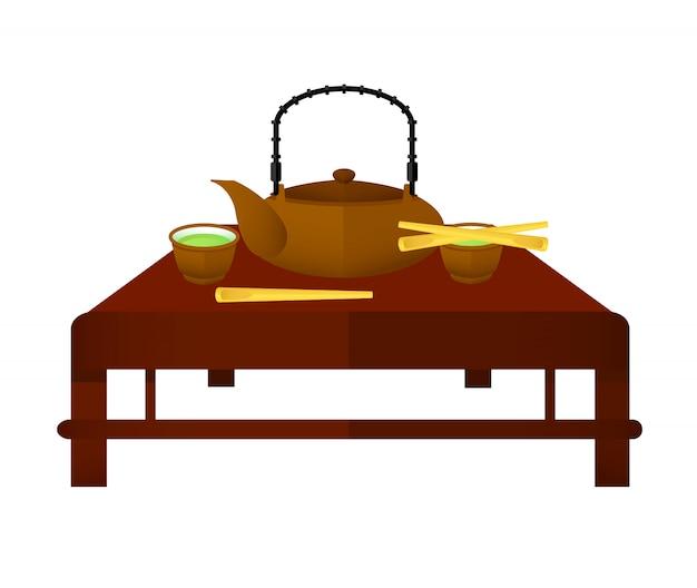 Conceito de elementos de chá chinês cerimonial