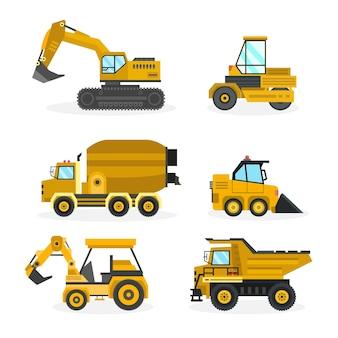 Conceito de elementos de coleção de escavadeira