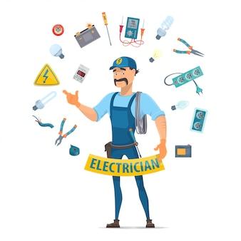 Conceito de elementos de eletricidade coloridos
