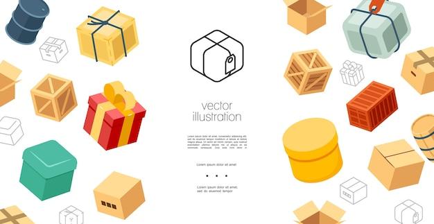 Conceito de elementos de embalagem colorida