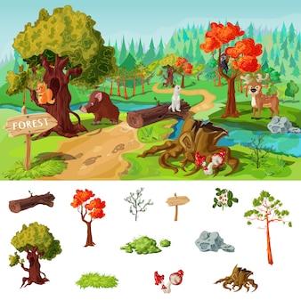 Conceito de elementos de floresta