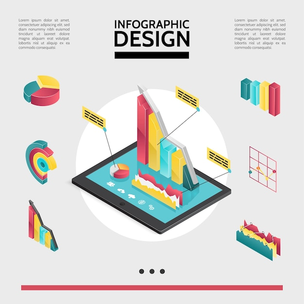 Conceito de elementos de infográfico isométrico com gráficos de diagramas e tabelas na ilustração de tela do tablet