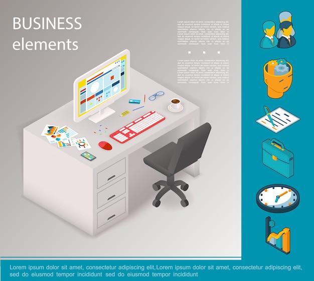 Conceito de elementos de negócios isométricos com empresários contrato pasta relógio gráficos cadeira computador xícara de café artigos de papelaria na ilustração de mesa,