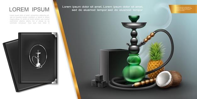Conceito de elementos de salão de narguilé realista com caixa de carvão shisha e cubos de tampas de menu de coco e abacaxi