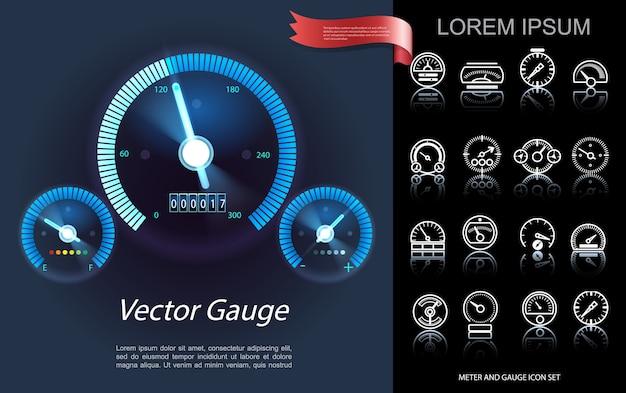 Conceito de elementos do painel do carro