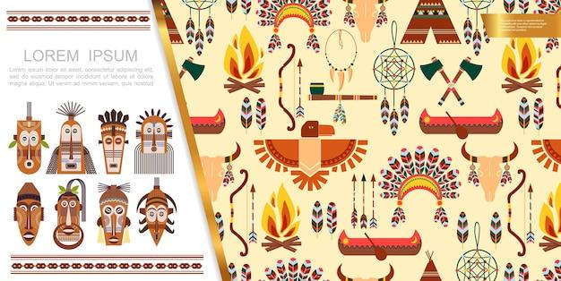 Conceito de elementos étnicos planos africanos com máscaras tribais setas arco penas headwear touro crânio apanhador de sonhos barco tomahawks águia fumar cachimbo ilustração fogueira
