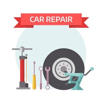 Conceito de elementos mecânicos de serviço de pneu plana.