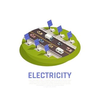 Conceito de eletricidade com carros de baterias solares e auto-estrada isométrica