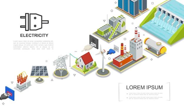 Conceito de eletricidade isométrica com usinas hidrelétricas e de combustível, usinas de biomassa, fábrica de gás, moinho de vento, painel solar, ilustração de transformador elétrico
