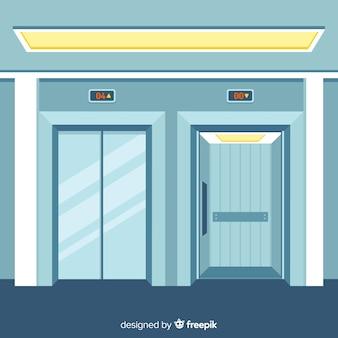 Conceito de elevador com porta aberta e fechada em design plano