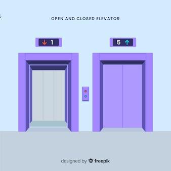 Conceito de elevador com porta aberta e fechada