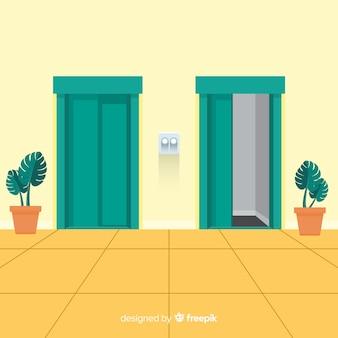 Conceito de elevador plano com porta aberta e fechada
