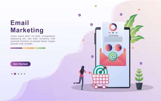 Conceito de email marketing. e-marketing, atingindo o público-alvo com emails.
