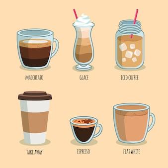 Conceito de embalagem de tipos de café