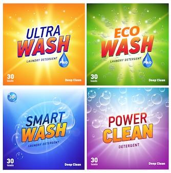 Conceito de embalagem detergente mostrando eco amigável limpeza e lavagem. pacote de detergente com logotipo ecológico.