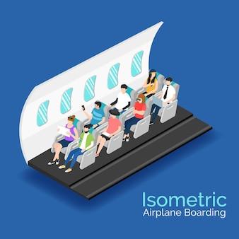 Conceito de embarque de avião isométrico