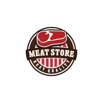 Conceito de emblema de logotipo de carne fresca