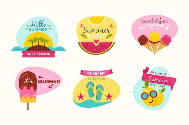 Conceito de emblemas de verão desenhado