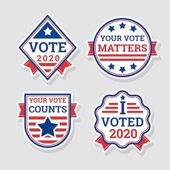 Conceito de emblemas e adesivos de votação