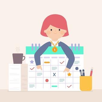 Conceito de empregado do mês com gráficos