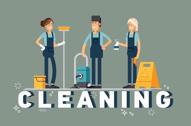 Conceito de empresa de limpeza.