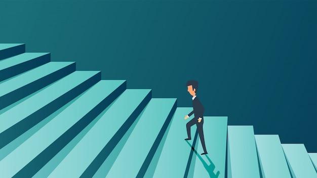 Conceito de empresário de carreira de sucesso. ambição futura