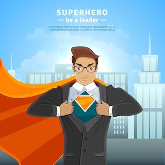 Conceito de empresário de super herói