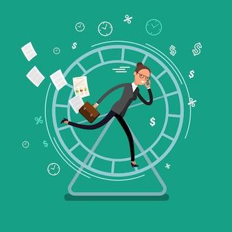 Conceito de empresários ocupados. mulher de negócios, executando em uma roda de hamster. design plano, ilustração vetorial.