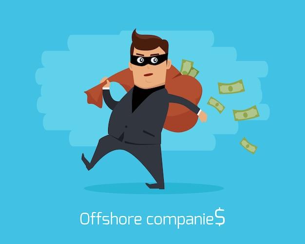Conceito de empresas offshore design plano vector