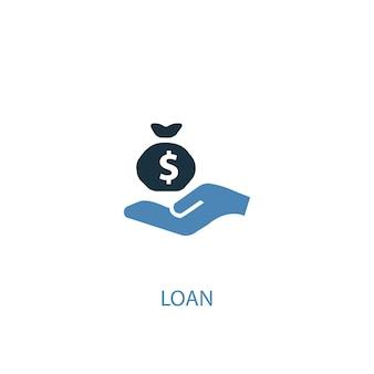 Conceito de empréstimo 2 ícone colorido. ilustração do elemento azul simples. projeto de símbolo de conceito de empréstimo. pode ser usado para ui / ux da web e móvel