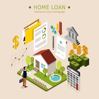 Conceito de empréstimo à habitação em design plano 3d isométrico