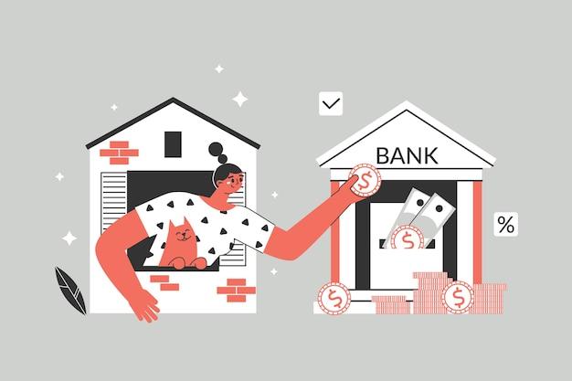 Conceito de empréstimo hipotecário. a personagem da menina transfere dinheiro para o banco, paga o empréstimo ao banco. investindo dinheiro em sua casa.