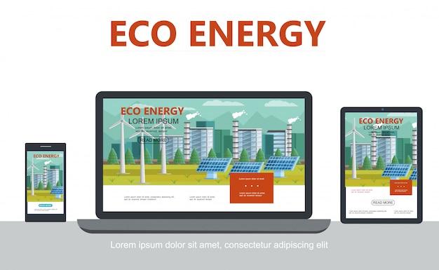 Conceito de energia ecológica alternativa plana com painéis solares de fábrica ecológica de moinhos de vento adaptáveis para design de laptop móvel tablet isolado
