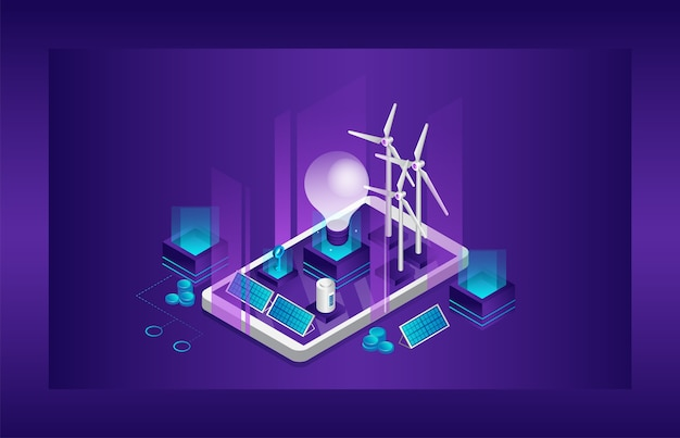 Conceito de energia elétrica limpa de fontes renováveis alternativas sol e vento. grande lâmpada, painéis solares, turbinas de moinho de vento e outras fontes na tela do smartphone.