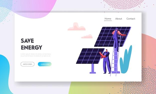 Conceito de energia limpa alternativa com painéis solares e modelo de página inicial de personagem de engenheiro.