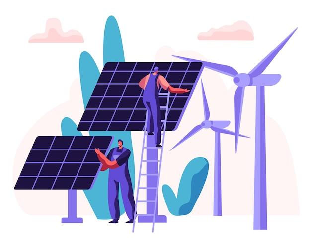 Conceito de energia limpa alternativa com painéis solares, turbinas eólicas e personagem de engenheiro.