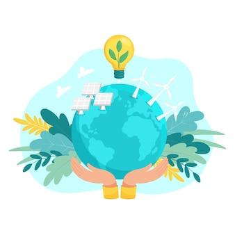 Conceito de energia limpa alternativa com turbinas eólicas e painéis solares
