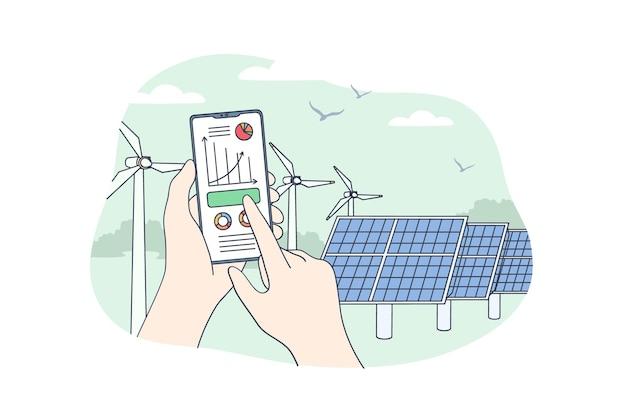 Conceito de energia renovável sustentável.
