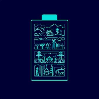 Conceito de energia verde ou proteção ambiental, gráfico do formato da bateria com a indústria e a natureza