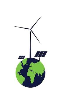 Conceito de energia verde tecnologias alternativas de energia produzindo energia solar e eólica