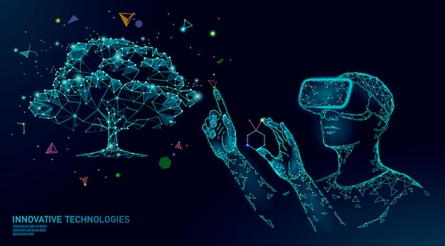 Conceito de engenharia de árvore de biotecnologia digital virtual. 3d render vr capacete realidade aumentada suplemento vitamínico.