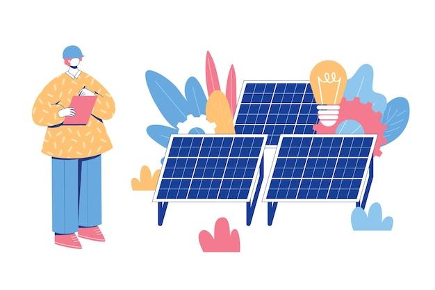 Conceito de engenharia de energia alternativa. trabalhador com painéis solares.
