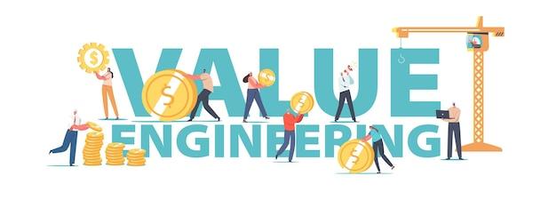 Conceito de engenharia de valor. personagens de engenheiros coletam moedas de ouro em pilhas usando guindaste de torre, pessoas economizando dinheiro, pôster de conta de crescimento de valor, banner ou panfleto. ilustração em vetor desenho animado