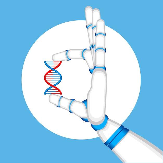 Conceito de engenharia genética com mão de robô