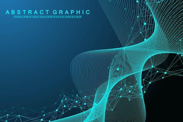 Conceito de engenharia genética e manipulação de genes de ilustração vetorial científica. hélice de dna, fita, molécula ou átomo de dna, neurônios. estrutura abstrata para ciência ou formação médica. fluxo de ondas.