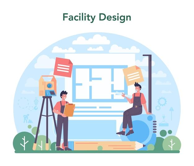 Conceito de engenheiro civil, ocupação profissional de design