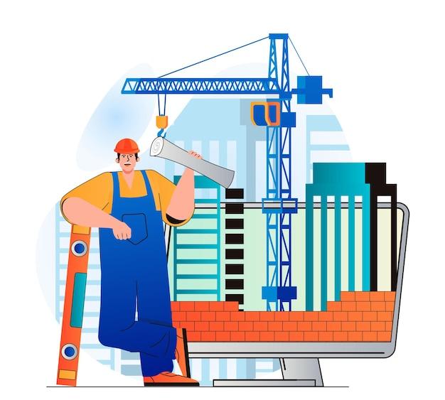 Conceito de engenheiro de construção em design plano moderno. construtor possui planta e ferramentas